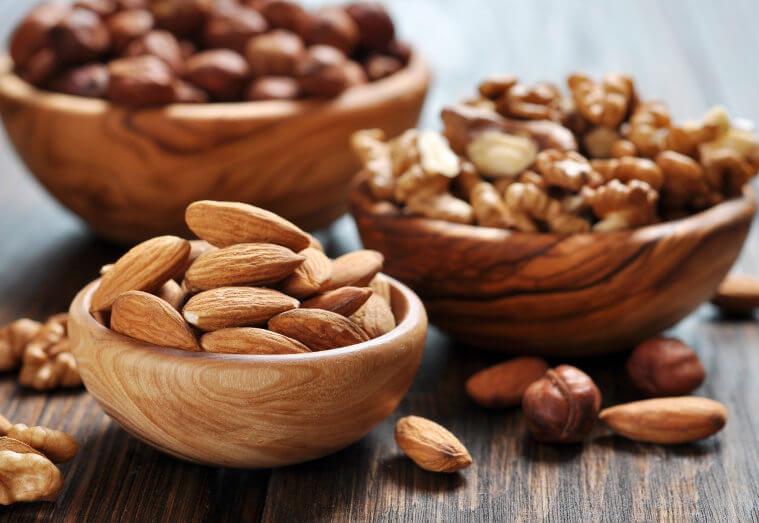 Almond, walnuts and hazelnuts